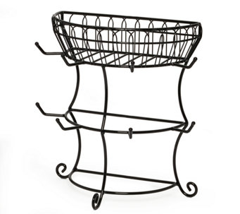 Gourmet Basics by Mikasa Two-Tier Mug Tree withBasket - K305039