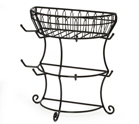 Gourmet Basics by Mikasa Two-Tier Mug Tree withBasket