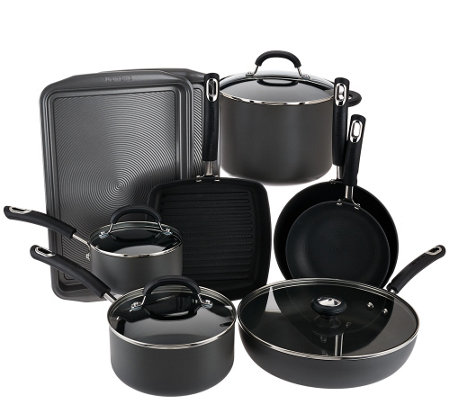 """As Is"" Circulon 13 pc. Hard Anodized Dishwasher Safe Cookware Set"