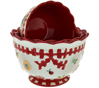 """As Is"" Temp-tations S/3 Gingham Garden Nesting Bowls - K307539"