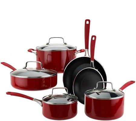 Kitchenaid Pot And Pan Set kitchenaid 10-piece aluminum nonstick cookware set - page 1 — qvc