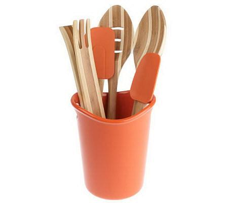 Rachael Ray Stoneware Crock with 5-piece Bamboo Tool Set