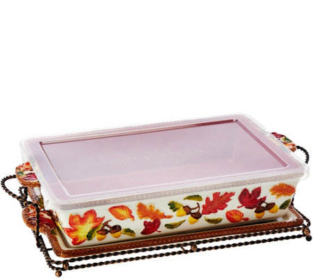 Temp-tations 13x9 Harvest Figural Baker w/Lid-it & Rack