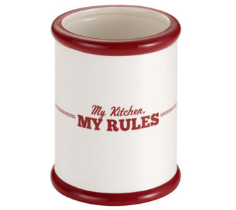 "Cake Boss Ceramic Tool Crock with ""My Kitchen,My Rules"" - K302441"