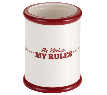 "Cake Boss Ceramic Tool Crock with ""My Kitchen,My Rules"""