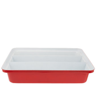 "CooksEssentials Triple Compartment 11""x14"" Lasagna Pan - K40941"