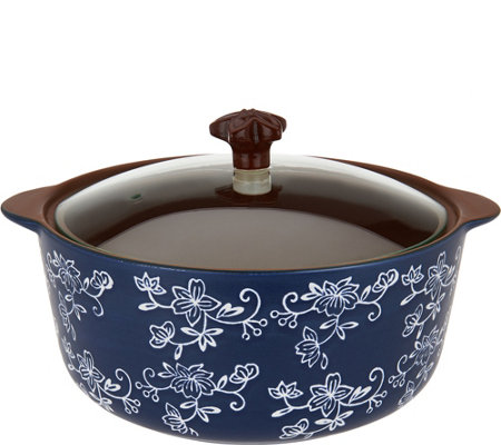 """As Is"" Temp-tations Floral Lace 3qt Round Stove Top Baker"