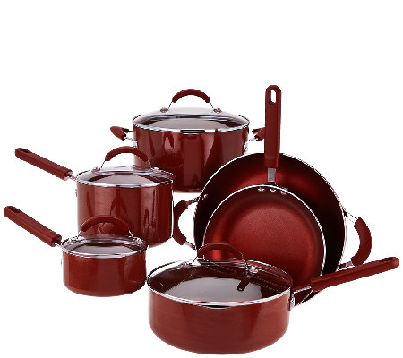 CooksEssentials Porcelain Enamel 10-Piece Cookware Set