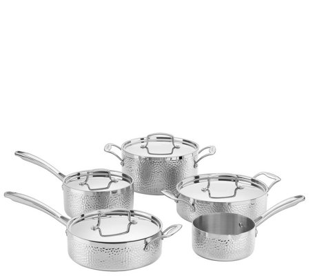 Cuisinart 9-Piece Hammered Tri-Ply Stainless Cookware Set