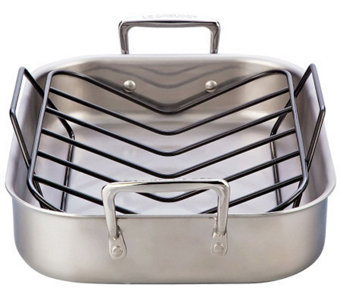 "Le Creuset Stainless Steel 14"" x 11"" Small Roasting Pan - K300744"