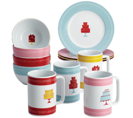 "Cake Boss 12-Piece Serverware Set, ""Mini Cakes""Pattern"