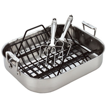 All-Clad Large Roti Combo with Rack & Turkey Forks - K304844