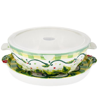 Temp-tations Wreath Fluted Tube Pan with Serving Tray & Gift Box - K42244