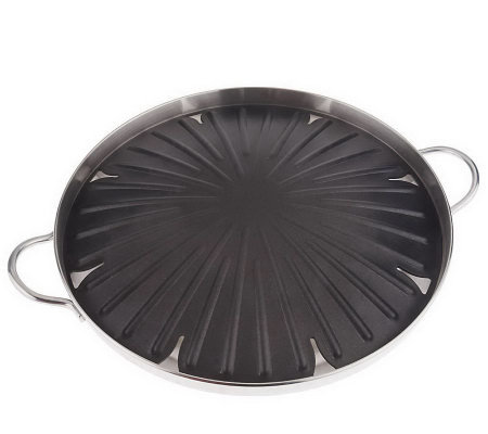 """As Is"" Cooks Essentials Polished Aluminum 14"" Round Grill Pan"