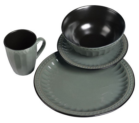 Tabletops Gallery Gray Beads 16-Piece Dinnerware Set