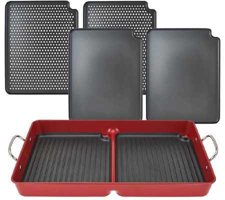 """As Is"" Cooks Essentials 7 pc BBQ GrillPan with/ Removable Nonstick Plates"