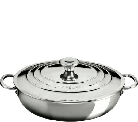 Le Creuset Stainless Steel 5 qt Braiser with Lid