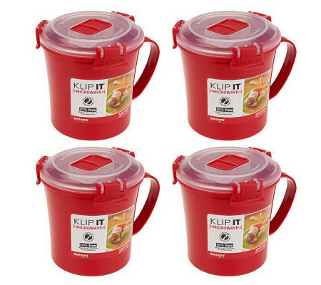 Sistema Set of 4 Klip It Microwave Soup Mugs
