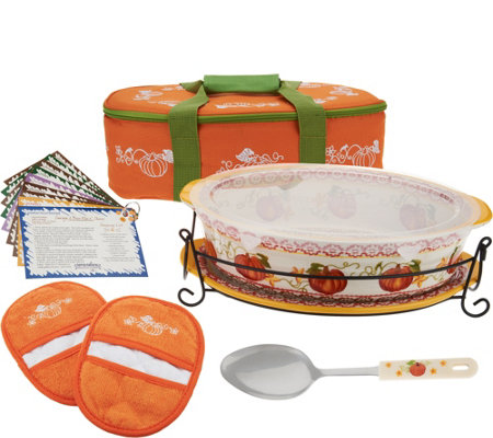 Temp-tations 3 qt. Pumpkin Patch Oval Baker w/ Lid-it in Tote