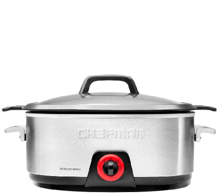 Chefman 6-Qt Oval Slow Cooker with Die-Cast Insert