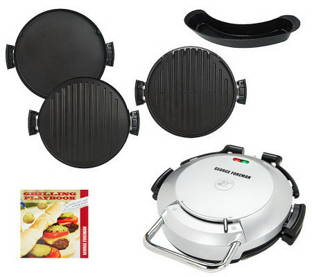 George Foreman 360 Grill w/ 2 Removable Grill Plates, Bake Pan & Cookbook