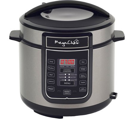MegaChef 6-Quart Digital Pressure Cooker w/ 14Preset Features