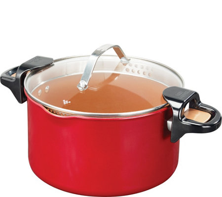 Red Copper 5-qt Pasta Pot with Straining Lid