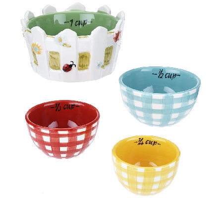Temp-tations Set of 4 Gingham Garden Measuring Cups