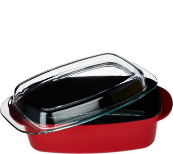 CooksEssentials 2-1 Large 6 qt Aluminum Casserole with Rack& Glass Lid - K44447