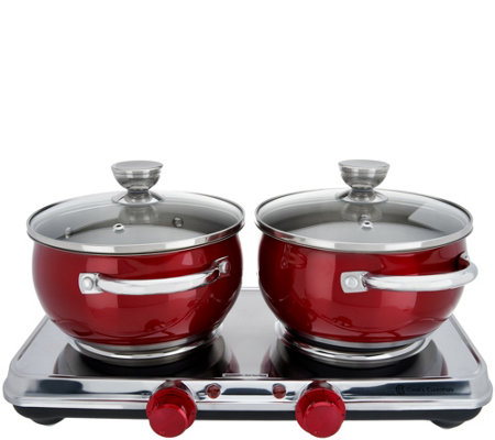 Cook's Essentials Stainless Steel Double Burners & Cookware Set