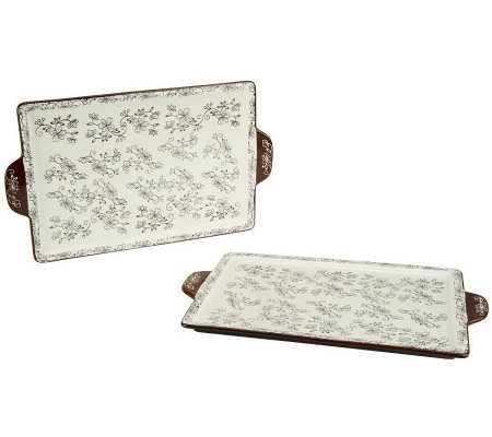 "Temp-tations Floral Lace Set of 2 9"" X 13"" Baking & Serving Board"