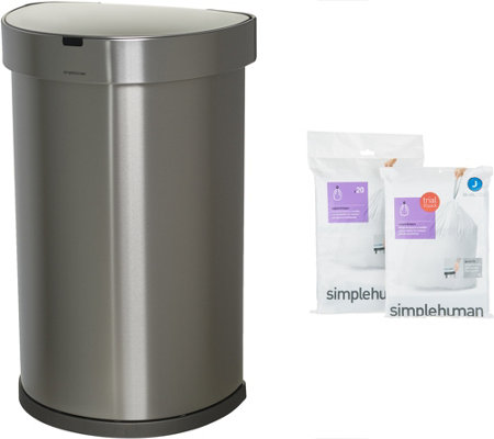 simplehuman 45 Liter Stainless Steel Sensor Trash Can with Liners
