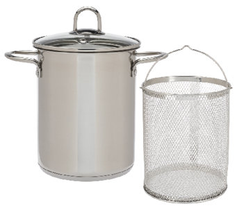"""As Is"" CooksEssentials 4qt. Stainless Steel Multipot with Strainer - K307349"
