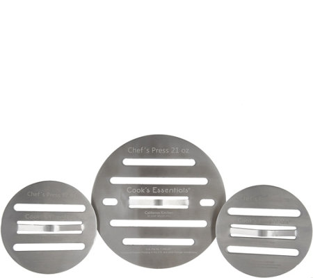 Cook's Essentials Stainless Steel Set of 3 Round Chef Presses