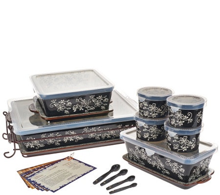 """As Is"" Temp-tations Floral Lace 16-pc Essential Oven-to-Table"