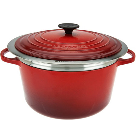 Le Creuset 6.5qt Cast Iron Dutch Oven with Steamer Basket