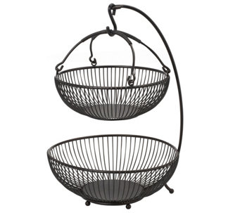 Gourmet Basics by Mikasa Spindle 2-Tier BasketWith Hook - K305051