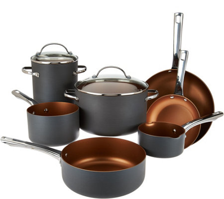 """As Is"" Cook's Essentials 10pc Non-Stick Hard Anodized Cookware Set"
