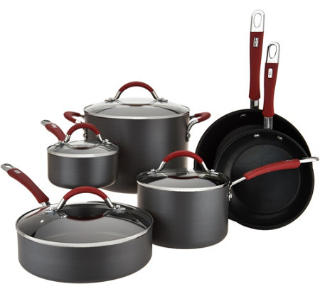 Cook's Essentials 10pc Hard Anodized Cookware Set w/ Red Handles