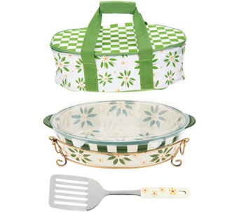 Temp-tations Old World 3qt Pack n' Go Baker with Tote & Server - K46051