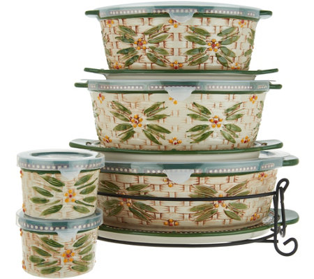 Temp-tations Old World Basketweave 9-Piece Oval Bakeware Set
