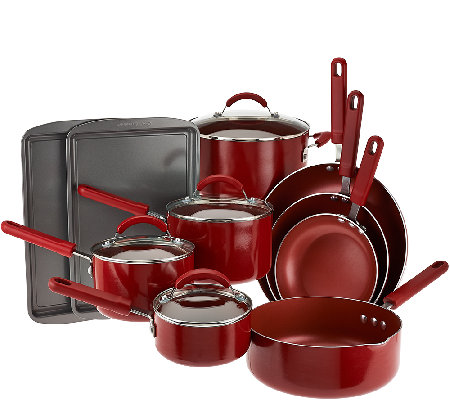 Cook's Essentials 14-piece Porcelain Cookware Set