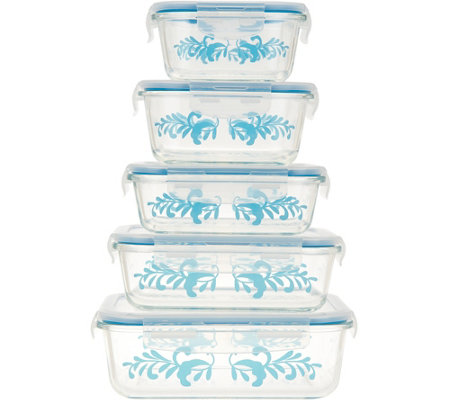 Valerie Bertinelli Set of 5 Glass Food Storage w/ Steam Vent Lids