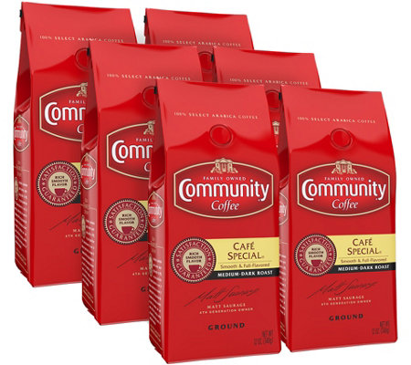 Community Coffee Set of (6) 12-oz Ground Cafe Special