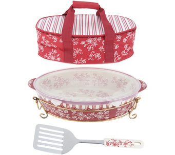 Temp-tations Floral Lace 3qt Pack n' Go Baker with Tote & Server - K46053