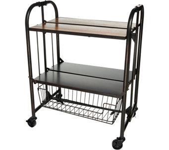 Gourmet Basics By Mikasa Wood Top Folding Cart With Basket   K46753
