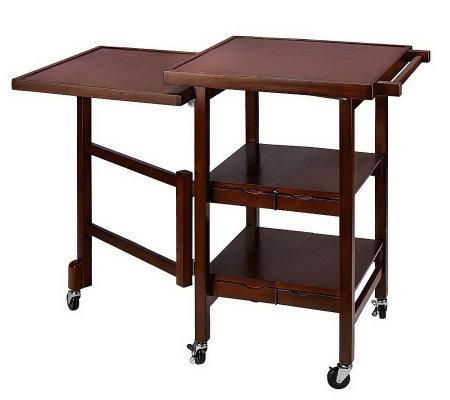 quot;As Isquot; Folding Island Expandable Hardwood Kitchen Cart  Page 1 — QVC.com