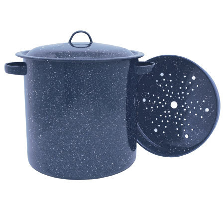 15.5 qt Porcelain-on-Steel Tamale Pot with Steaming Insert