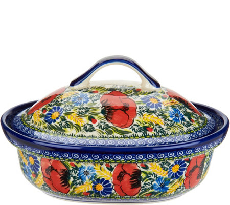 Lidia's Polish Pottery Covered Casserole Baker