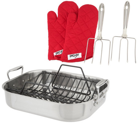 All-Clad Stainless Steel Roaster with Turkey Fork & Oven Mitts